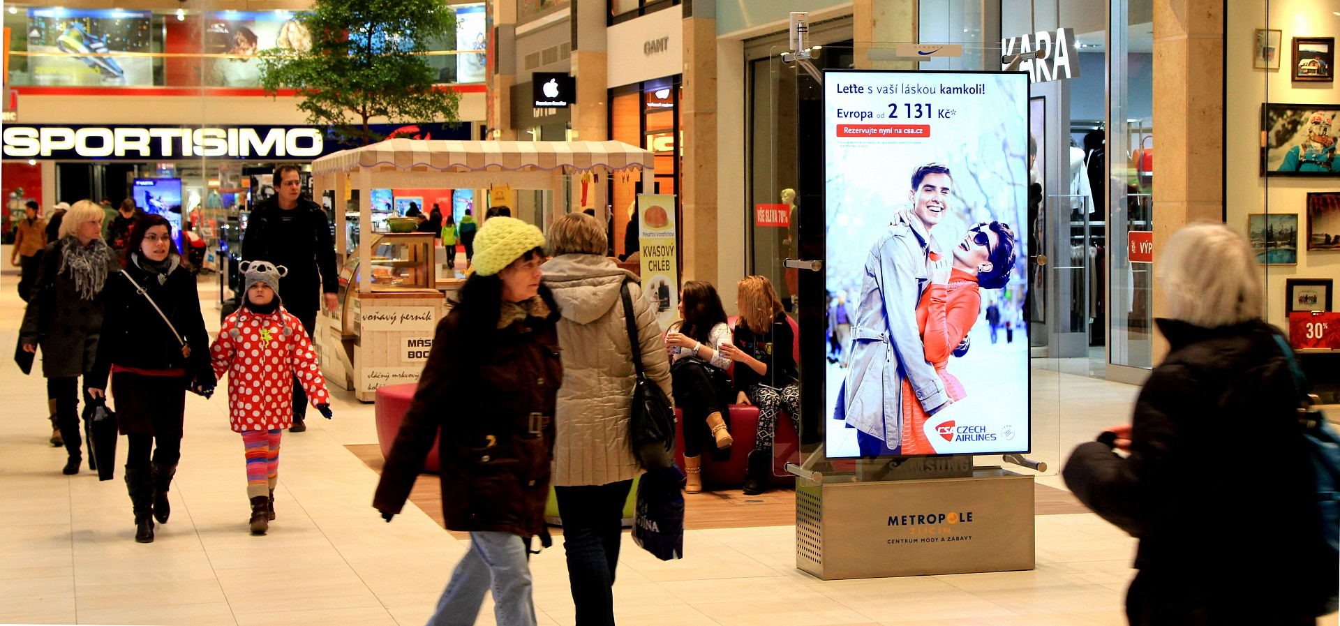 Czech airlines on digiCLV panels in shopping centres