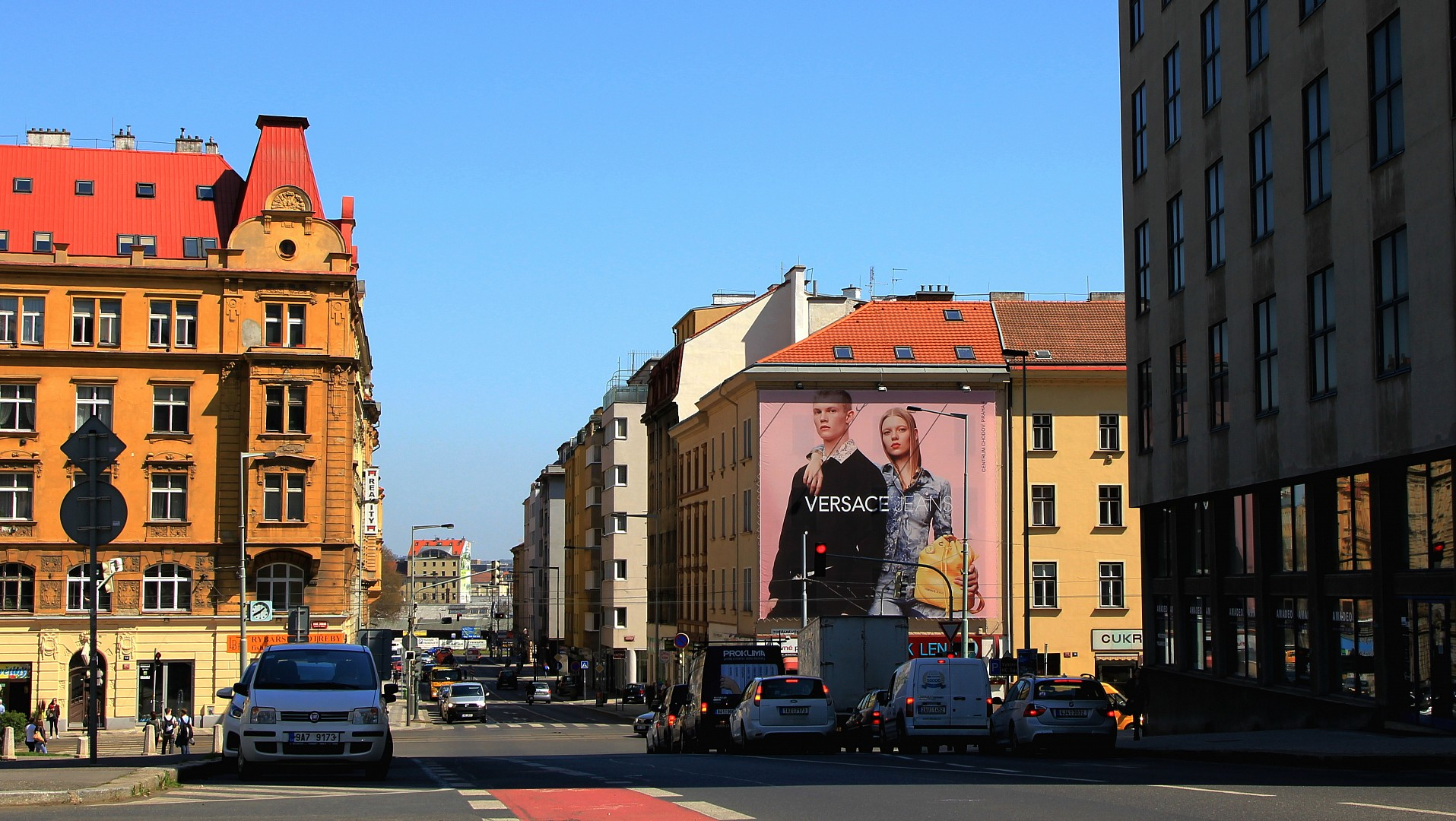 Versace Jeans on wallscapes in Prague that cannot be overlooked